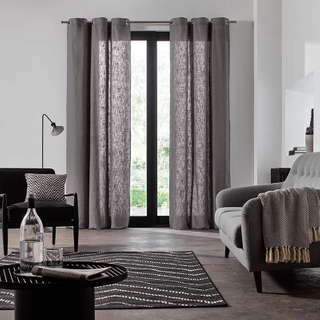Monad Zhejiang Fabric Fashion Living Room Linen Plain White Eyelet Wall Hanging Curtain