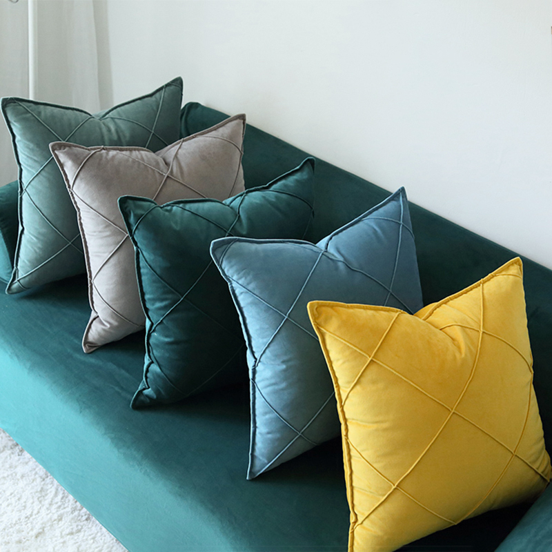 Monad Geometric Decorative Couch Soft Plain Embroidery Velvet Cushion Covers