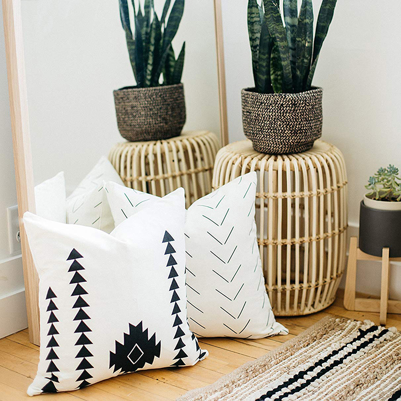 Nordic Boho Design Home Decorative Black And White Cotton Block Print Cushion Covers for Sofa