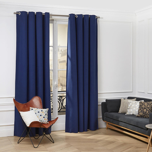 Monad High Quality Plain 100 Polyester Black Out Fabric Bedroom Sets Blue Curtain