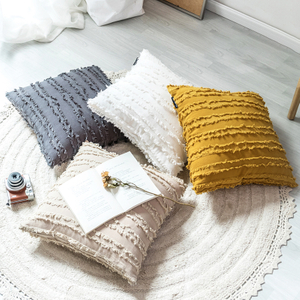 Monad Nordic Style Decorative Soft Polyester Mustard Yellow Plain Shaggy Pillow Cushion Cover For Sofa