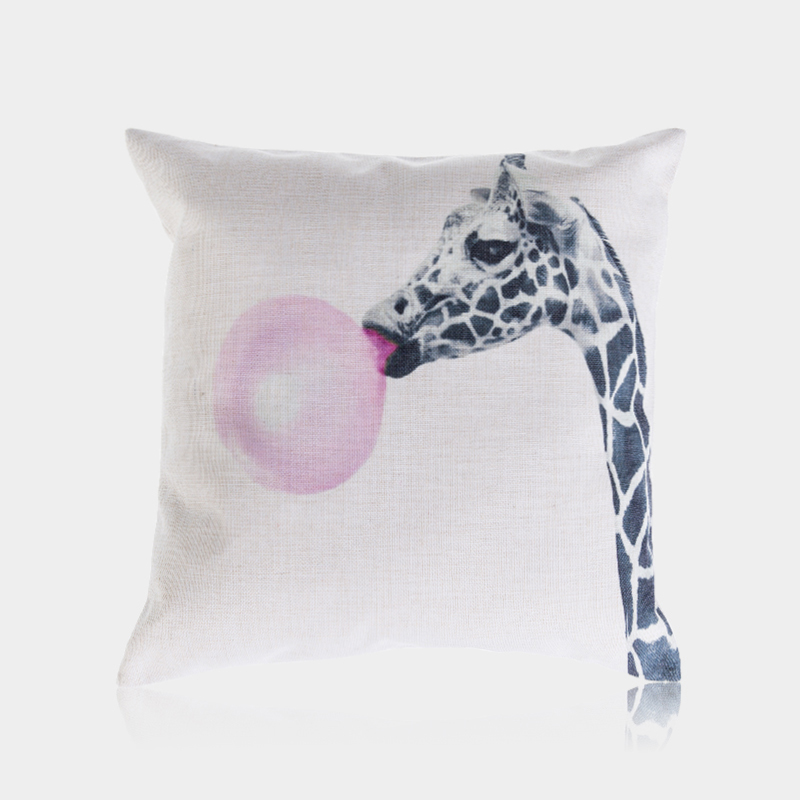 Nordic Lovely Grey Animal Giraffe Digital Print Printing Cushion Cover