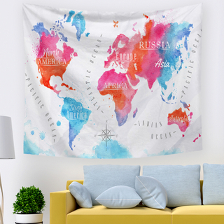 Modern Art World Map Machine-Made Wall Tapestry For Living Room