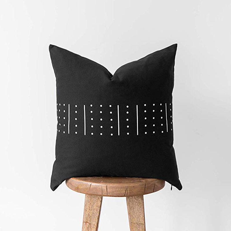 Monad Wholesale Nordic 45x45 Polyester Black And White Printed Cushion Cover For Hotel